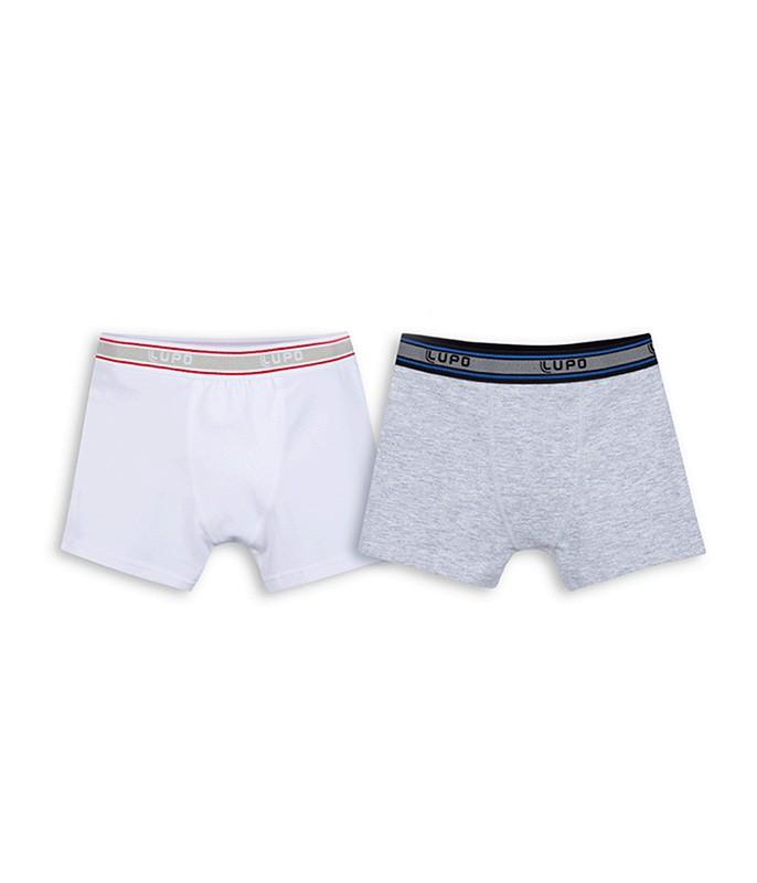 a1586468a25c51 Kit com 2 Cuecas Boxer Lupo Kids/Infantil (00141-088) Branca/Mescla