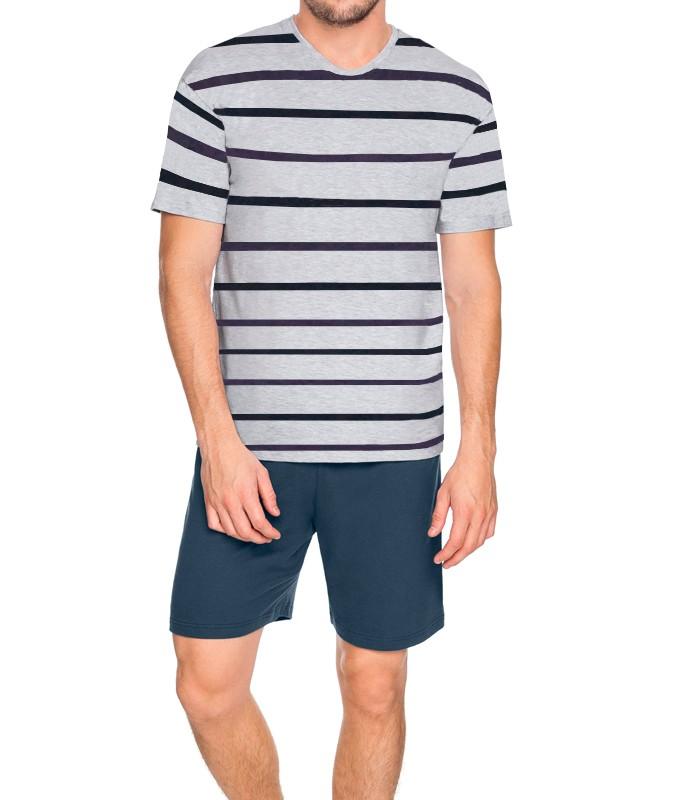 49c024361 Pijama Masculino Curto Mescla Listrado Malwee Liberta (1000004731 ...